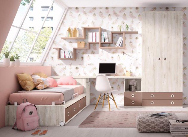 juvenil-habitacion-rosa-flores